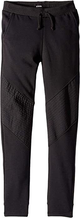 French Terry Moto Jogger with Hem Detail in Black (Big Kids)