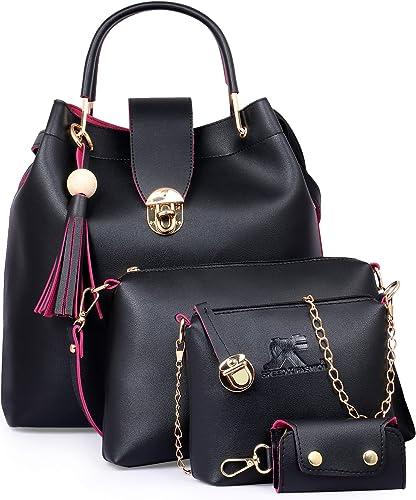 Speed X Fashion Women's Shoulder Bag (Set of 4) (Black)
