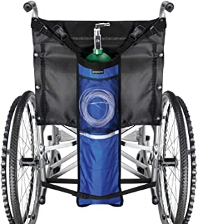 ZHEEYI Oxygen Cylinder Bag for Wheelchair Portable Oxygen Tank Holder with Adjustable Straps & Zippers Blue