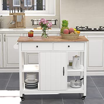 Amazon Com Choochoo Kitchen Cart On Wheels With Wood Top Utility Wood Kitchen Islands With Storage And Drawers Easy Assembly White Kitchen Islands Carts
