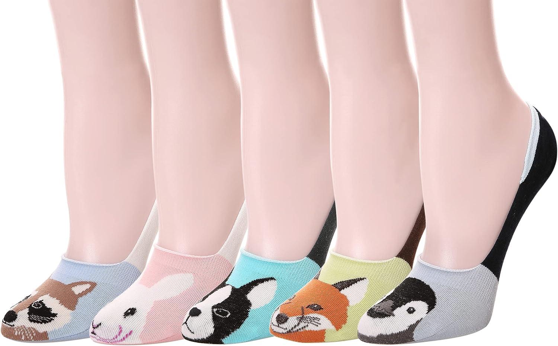 Womens Cute Funny No Show Socks Animal Low Cut Socks 5 Pairs