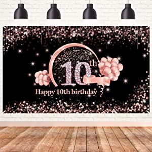Lnlofen 10th Birthday Banner Backdrop Decorations for Girls, Extra Large 10 Year Old Birthday Party Poster Decor Supplies, Rose Gold Ten Birthday Photo Sign Booth Props