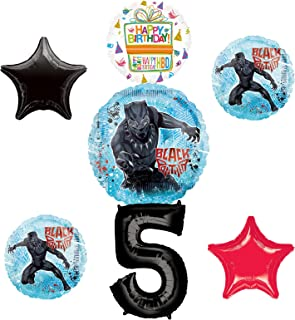 Black Panther Party Supplies 5th Birthday Balloon Bouquet Decorations