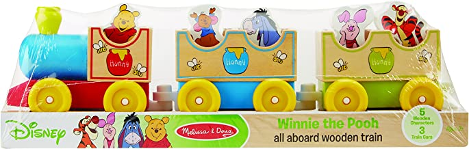 Melissa & Doug Disney Baby Winnie the Pooh All Aboard Wooden Train With 3 Train Cars and 5 Characters