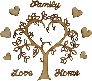 Alchemy Engraving Limited Leafy Wooden Family Tree Craft Kit with 'Family', Love' & 'Home' Words Plus Heart Name Plaque Embellishments - Complete Kit!