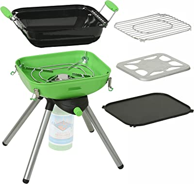 Flame King YSNVT-301 Multi-Function Portable Propane BBQ Grill Camp Stove, Green, 8000 BTU 9.5 x 12 Inch Cooking Surface