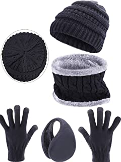 Blulu 4 Pieces Ski Warm Set Includes Winter Beanie Hat Circle Scarf Outdoor Gloves and Ear Warmer for Adults Kids