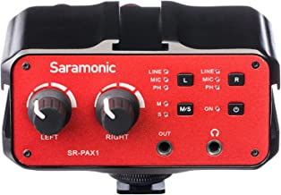 Saramonic 2-Ch Audio Mixer with 3.5mm, XLR & 6.35mm Combo Inputs, PH Power, Headphone Monitor Jack, Integarted Shoe Mounts...