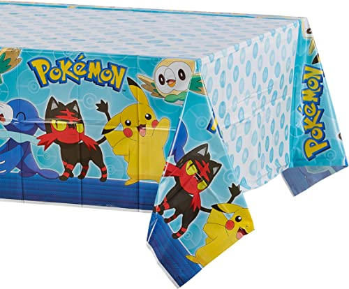 American Greetings Plastic Table Cover for Arts & Crafts, Pokemon Party Supplies (1-Count)