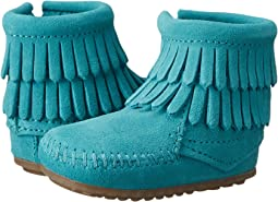 Minnetonka Kids Double Fringe Side Zip Bootie (Infant/Toddler)