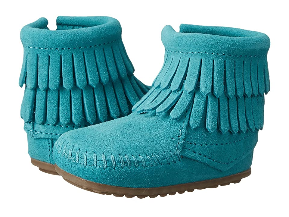 Minnetonka Kids Double Fringe Side Zip Bootie (Infant/Toddler) (Turquoise) Girls Shoes