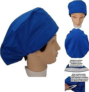 Cappelli per chirurgia medici BLU SCURO per Capelli Lunghi Infermiera, dentista, veterinaria Striscia assorbente anteriore...