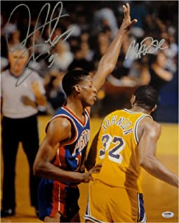 Magic Johnson Dennis Rodman Signed Autograph 16x20 Photo Lakers Pistons PSA/DNA