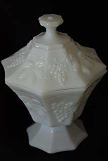 Indiana White Milk Glass Pedestal Harvest Grapes Candy Dish Compote With Lid