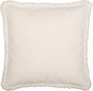 VHC Brands Burlap Euro Pillow Sham Cover with Ruffle Cotton Farmhouse Home Decor in Antique Off-White