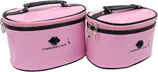 HOYOFO 2 Pcs Waterproof Cosmetic Bag Set PU Leather Make Up and Cosmetics Organizers with Handle Different Sizes Makeup Bags,Pink