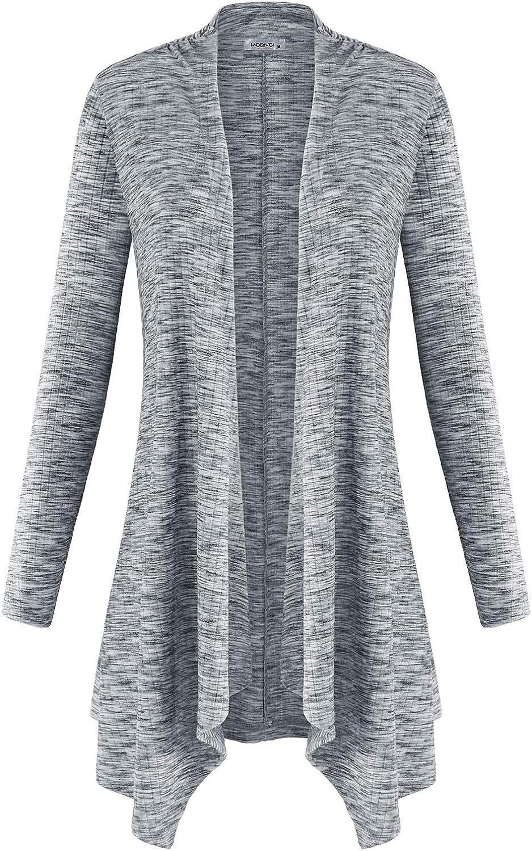 MOQIVGI Women Long Sleeve Sweater Tops Open Front Drape Lightweight Knit Cardigans
