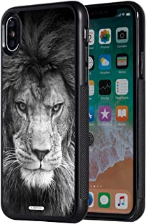 iPhone Xs Max Case,AIRWEE Slim Anti-Scratch Shockproof Silicone TPU Back Protective Cover Case for Apple iPhone Xs Max 6.5 inch 2018,Black and White Lion