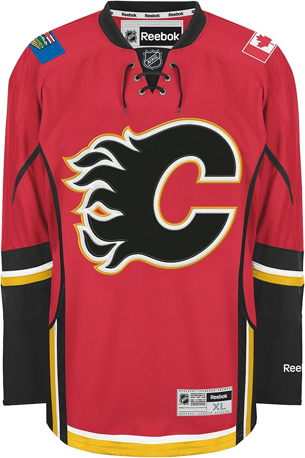 Calgary Flames Blank Red Youth Premier Home Jersey : Sports & Outdoors