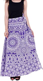 Indian Dresses Store VAIDIKI Women's Cotton Floral Printed Wrap Around Long Skirt (Free Size) Blue