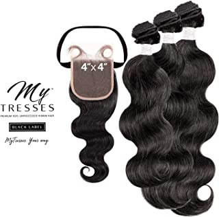 My Tresses Unprocessed Human Hair Weave Black Label Body + 4x4 Closure (14