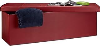 Relaxdays Banco plegable, Baúl de almacenaje, Cuero sintético, 38 x 114 x 38 cm, Rojo oscuro
