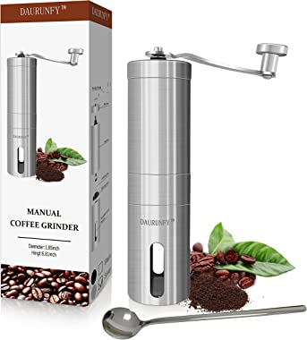 DAURUNFY Manual Coffee Grinder Portable Hand Coffee Bean Mill with Ceramic Adjustable Knob Setting Stainless Steel Coffee Gri