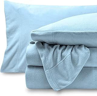 Bare Home Super Soft Fleece Sheet Set - Queen Size - Extra Plush Polar Fleece, Pill-Resistant Bed Sheets - All Season Cozy Warmth, Breathable & Hypoallergenic (Queen, Light Blue)