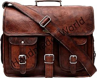 Handmade_world Leather Messenger Bag Brown 18 Inch Air Cabin Briefcase Leather Cross Body Shoulder Large Laptop School Bag