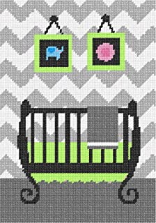 pepita Grey Chevron Uni Baby Crib Needlepoint Canvas