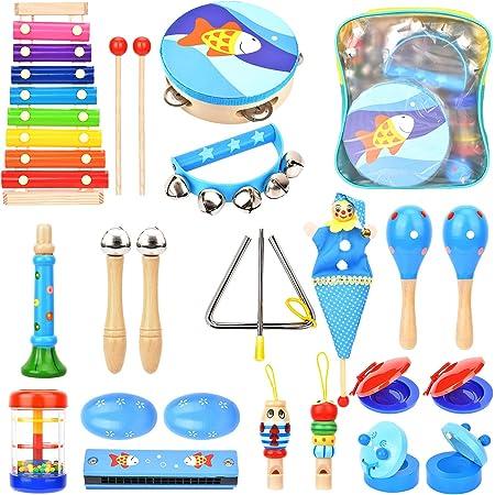 Wesimplelife - Jouets instruments de musique en bois pour tout-petits - instruments de percussion - jouets éducatifs préscolaires pour garçons et filles avec sac à dos de rangement