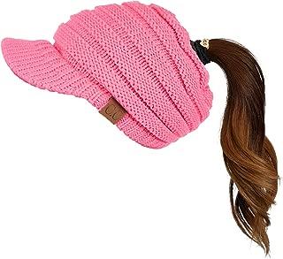 Messy Bun Ponytail Visor Brim Beanie Hat Bundle Hair Tie (MB-131)