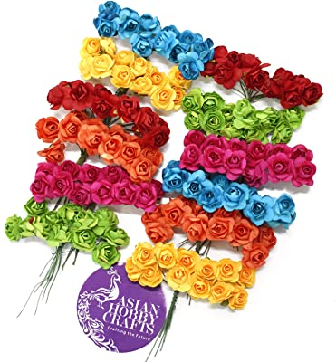Asian Hobby Crafts Artificial Paper Flowers (Multicolour, 1.5cm) - 144 Pieces