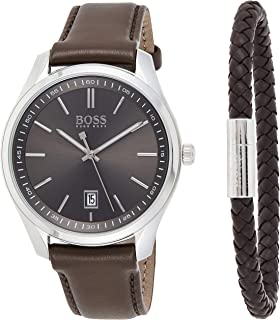 Hugo Boss Mens Quartz Watch, Analog Display and Leather Strap 1570083