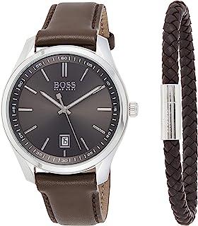 Hugo Boss Mens Quartz Watch, Analog Display and Leather Strap 1570083