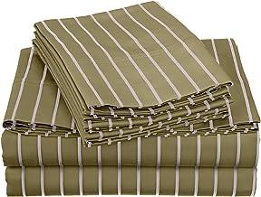 خليط القطن 600 خيط ، جيب عميق ، مجموعة ملاءات سرير كينج 6 قطع مقاومة للتجاعيد مع أغطية وسائد إضافية ، باهاما مخطط, المريمي...