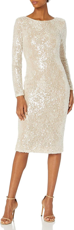 Dress the Population Women's Emery Long Mi Sequin Popular popular Sleeve Stretch Brand new