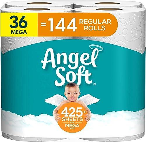 discount Angel Soft Toilet lowest outlet sale Paper, 36 Mega Roll = 144 Regular Rolls, 425+ 2-Ply Sheets Per Roll sale