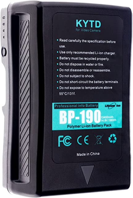 kytd 190 WH (13400 mAh 14.4 V) V de Mount V de Lock batería External V Montaje befestigene batería para Sony Video Cámara/Videocámara Sony y más (BP-190S)