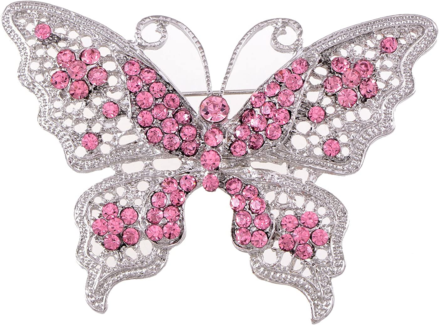 Alilang Clear Some reservation Crystal Rhinestone Filigree - Pin Butterfly Discount mail order Brooch