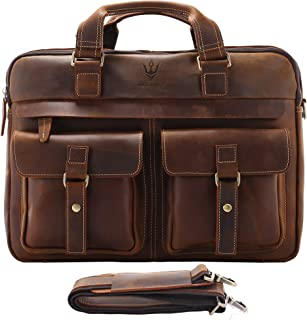 Mens Vintage Full Grain Leather Briefcases Fit 15.6 Inch Laptop Computer, Messenger Bag for Work and Business (Brown)