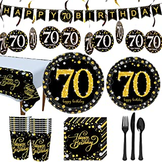 Trgowaul 70th Birthday Party Supplies - Black and Gold Disposable Paper Plates, Napkins, Cups, Tablecover Forks, Knives and Spoons for 16 Guests and Party Supplies Decorations Banner