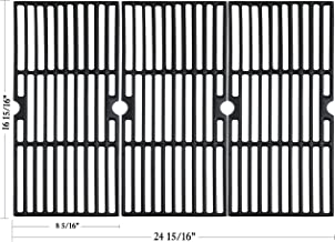 Hisencn Cast Iron Cooking Grid Grates Replacement for Charbroil Advantage 463343015, 463344015, 463344116, and Kenmore, Broil King Gas Grill Models, G467-0002-W1, 16 15/16