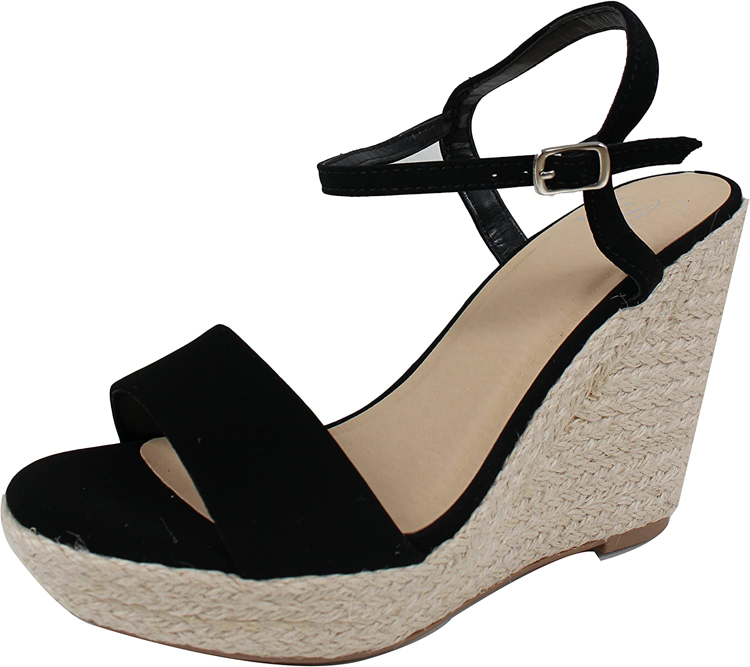 Delicious Women's Open Toe Ankle Strap Espadrille Wedge Sandal