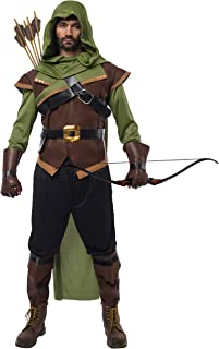 Renaissance Robin Hood Deluxe Men Costume Set Made of Leather for Halloween Dress Up Party