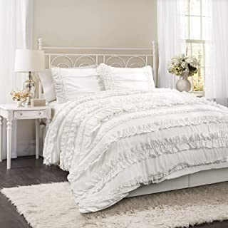 Lush Decor Belle 4 Piece Ruffled Shabby Chic White Comforter Set with Bed Skirt and 2 Pillow Shams - Queen Comforter Set