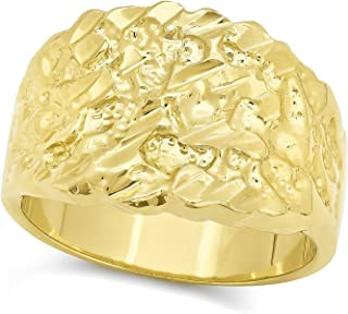 The Bling Factory 14k Gold Plated Chunky Nugget Pinky Ring, Size 7-15 + Jewelry Polishing Cloth