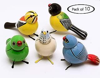 AzKrafts Lot 10 Pcs Handmade Painted Wooden Birds Vintage Indian Craft Gift Decor