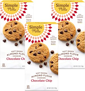 Simple Mills Almond Flour Chocolate Chip Cookies, Gluten Free and Delicious Soft Baked Cookies, Organic Coconut Oil, Good for Snacks, Made with whole foods, 3 Count (Packaging May Vary)