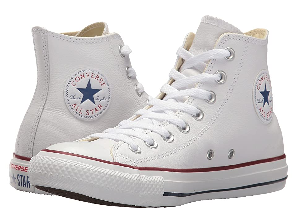 60s Shoes, Boots | 70s Shoes, Platforms, Boots Converse Chuck Taylorr All Starr Leather Hi White Leather Classic Shoes $64.95 AT vintagedancer.com